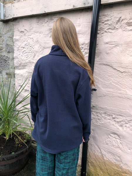 Vintage 1-4 Zip Unisex Fleece Jumper Pullover Navy Blue
