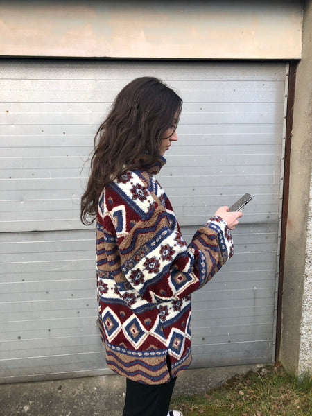 Vintage Unisex Crazy Print Oversized Patterned High Neck Fleece Fluffy Jumper / Sweatshirt / Pullover