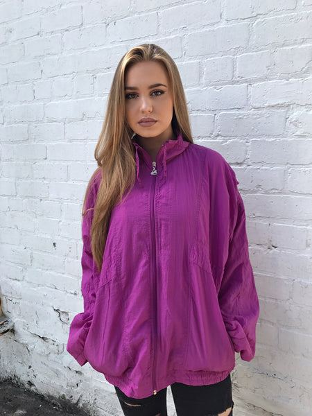 Vintage Windbreaker Unisex Oversized Shell Jacket Pinky/Purple