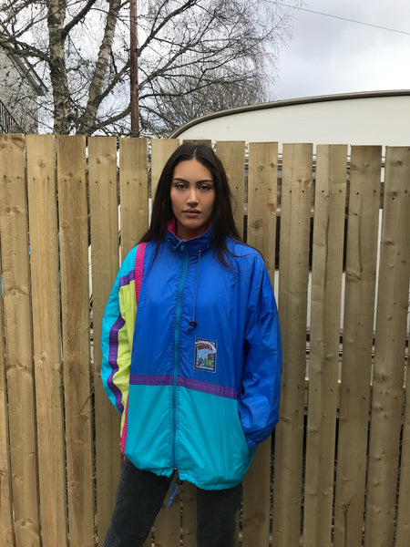 Vintage Unisex Festival Windbreaker Oversized Colourful Shell Rain Jacket