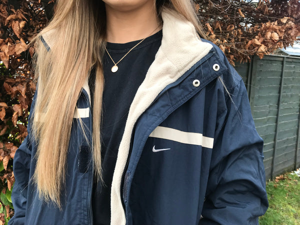 Vintage Nike Reversible Unisex Oversized Windbreaker Shell Jacket Fleece Navy / Cream