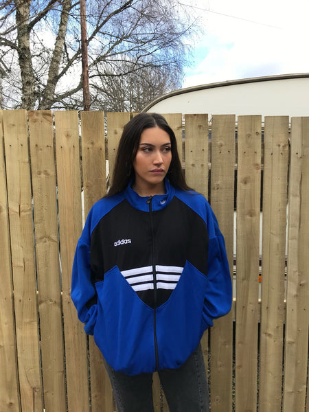 Vintage Adidas Originals 3 Stripes Unisex Track Jacket / Tracksuit Top Blue & Black