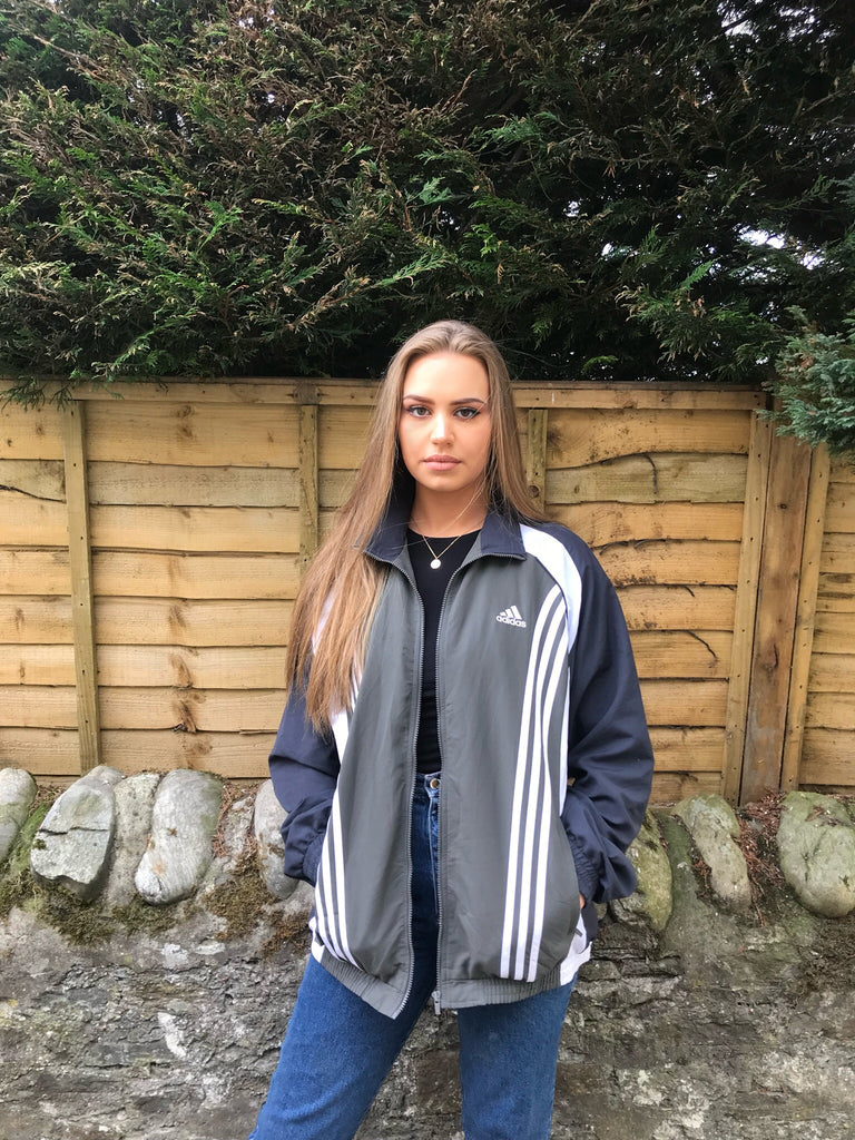 Adidas 3-Stripes Vintage Unisex Windbreaker Shell Track Jacket