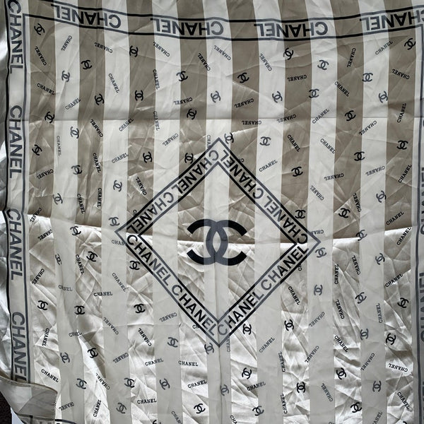 Vintage Chanel Silky Patterned Lightweight Multiway Square Scarf / Scarf Top
