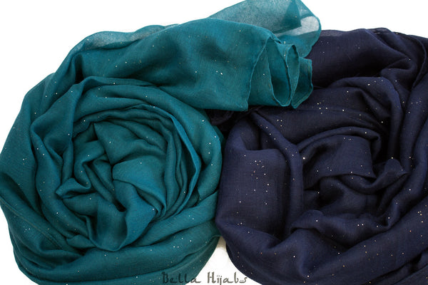 turquoise and navy blue glitter hijabs from bella hijabs