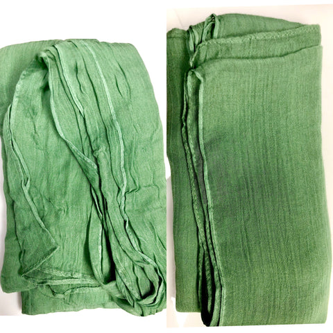 wrinkled modal hijab in seafoam green versus steamed hijab after taking care of hijab