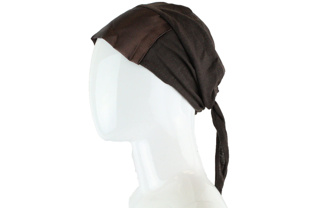 brown tie back under cap with a satin trim