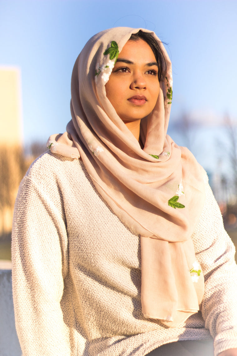 Floral Embroidered Hijab - Latte