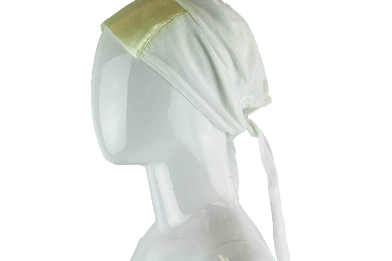 white tie back under cap with a satin trim
