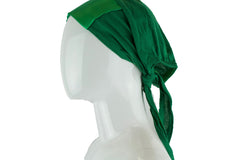 green tie back under cap with a satin trim