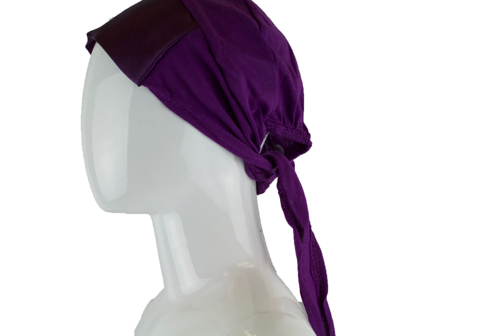 Satin Trim Tie Back Under Cap - Purple