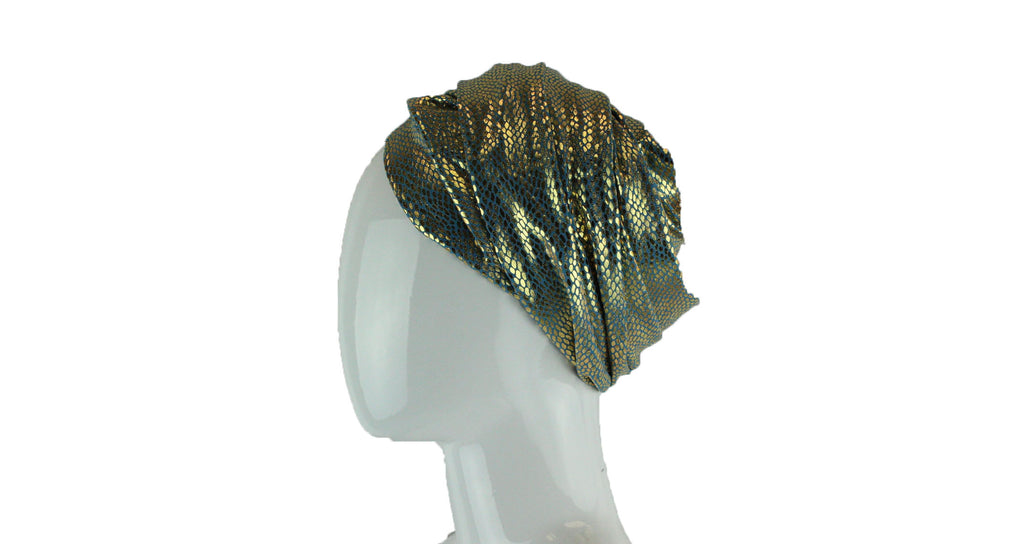 turban wrap in light blue and metallic gold