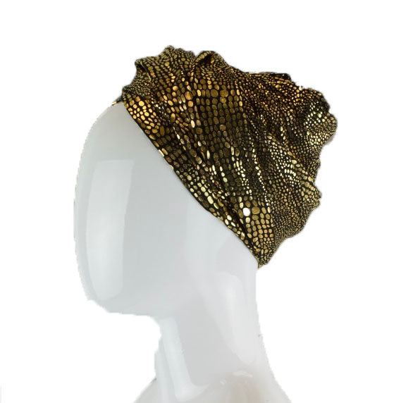 Gold Metallic Turban Wrap - Black