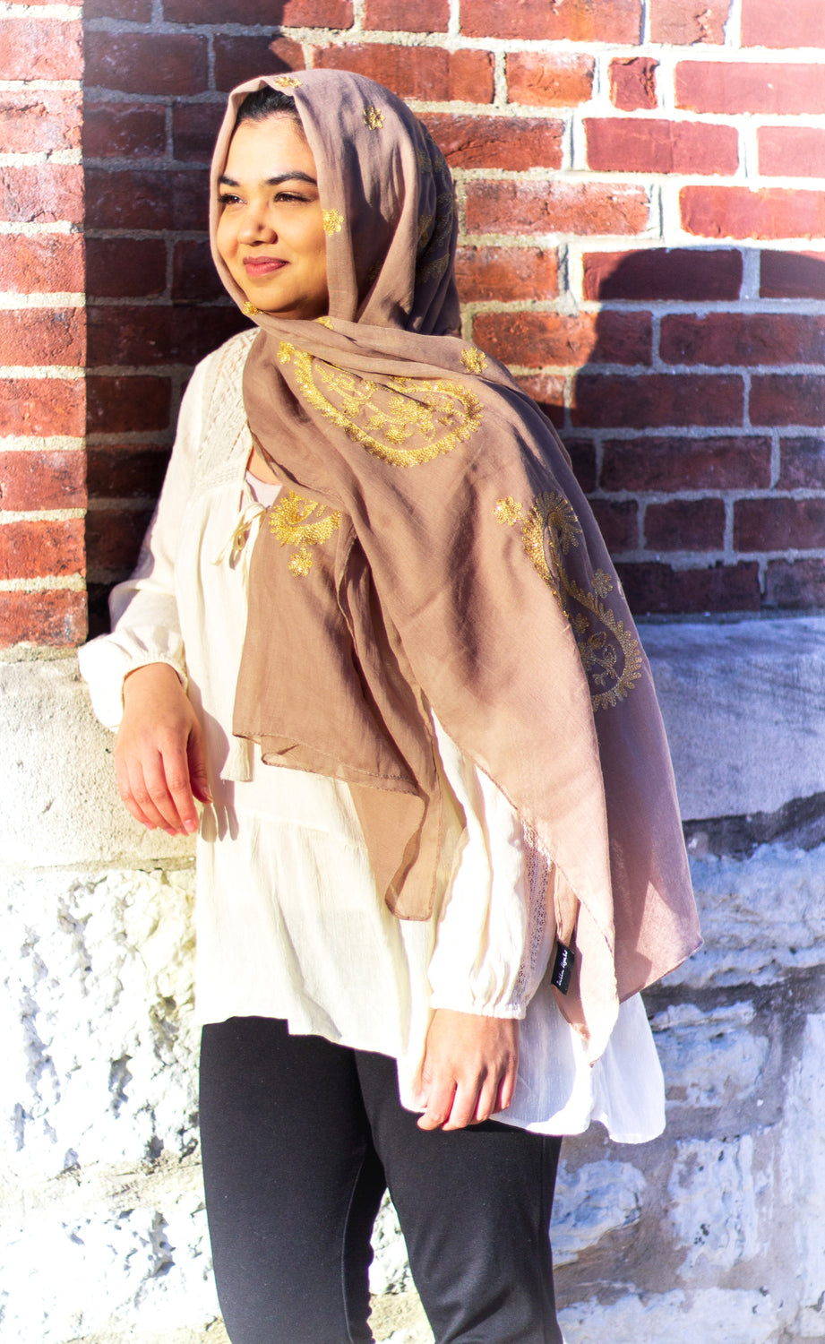 taupe viscose hijab with gold embroidery from bella hijabs