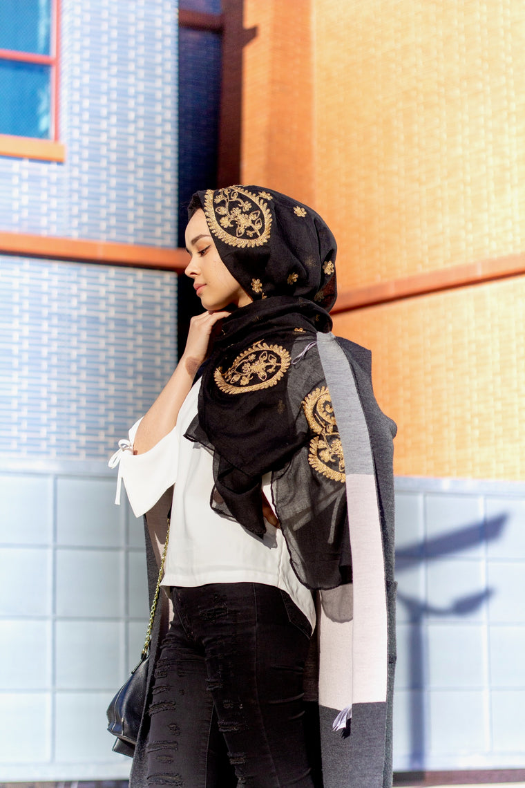 black viscose hijab with gold embroidery from bella hijabs