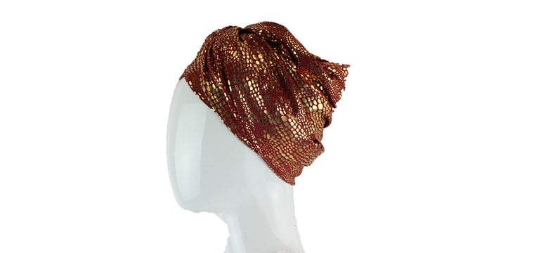 Gold Metallic Turban Wrap - Red