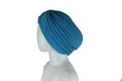 blue pleated slip on turban