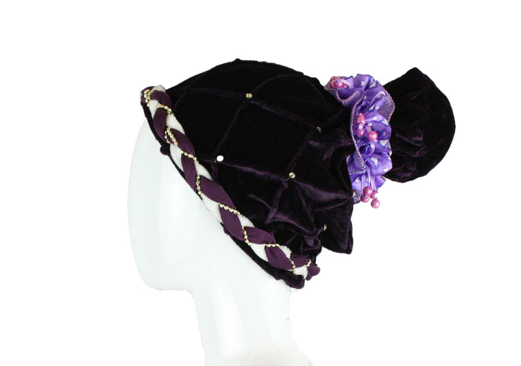 Velvet Pom Pom Turban - Purple