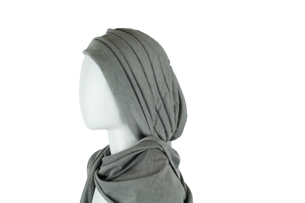 gray pleated slip on turban