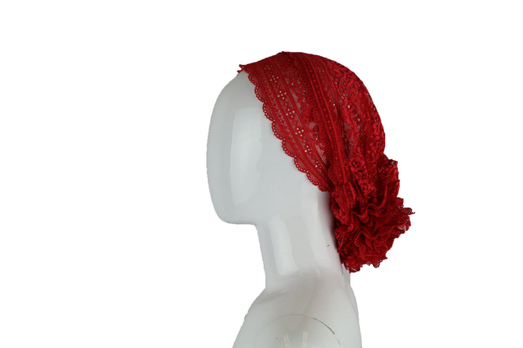 Lace Under Scarf Bonnet Cap - Red