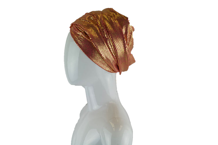 Gold Metallic Turban Wrap - Coral