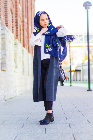 muslim woman wearing a navy floral embroidered hijab in indianapolis