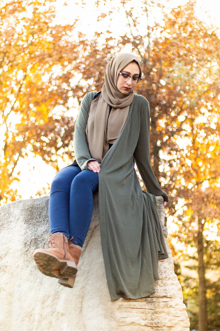 Maxi Cardigan with Pockets - Olive