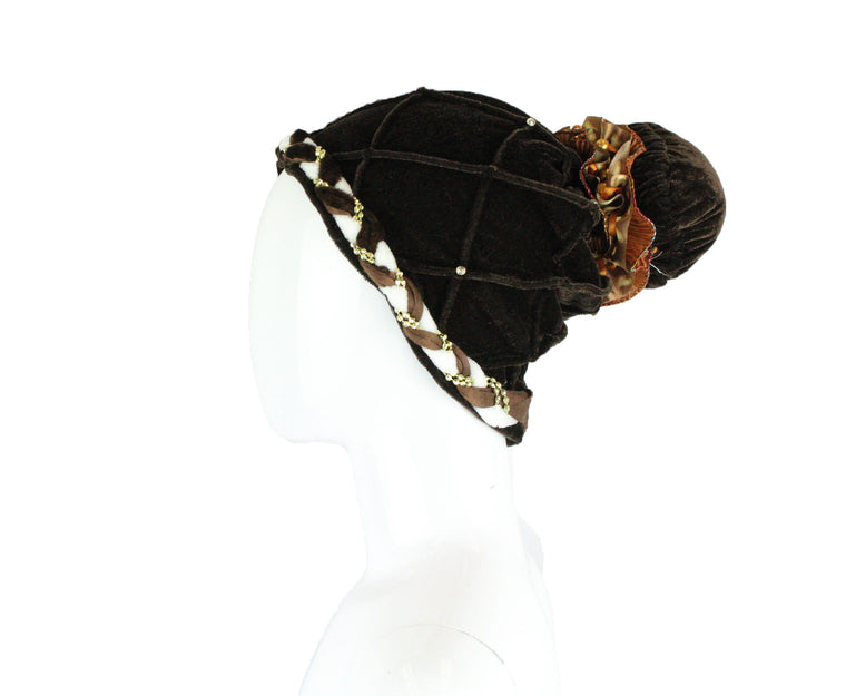 Velvet Pom Pom Turban - Brown