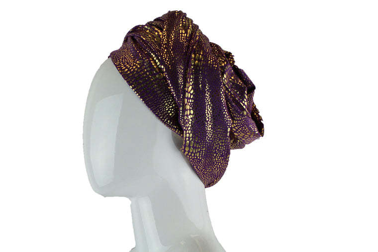 Gold Metallic Turban Wrap - Purple