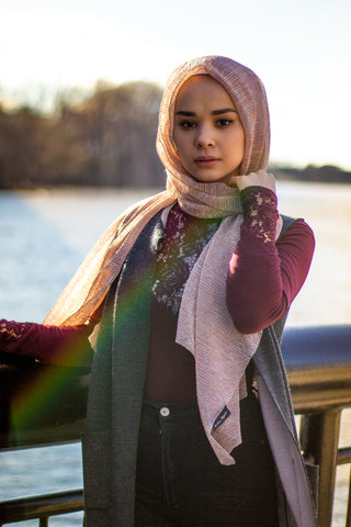 light pink shimmer jersey hijab