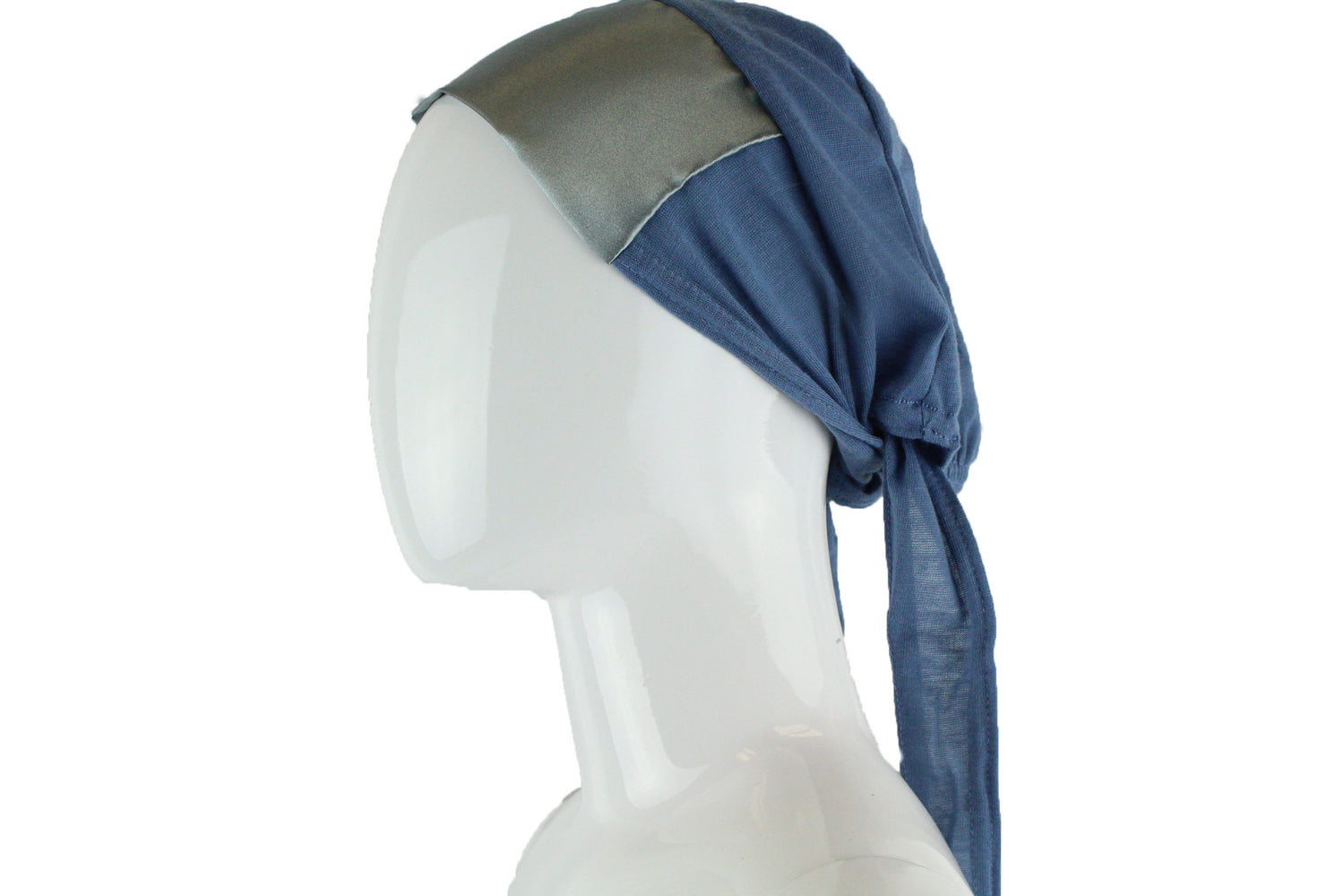 light blue tie back under cap with a satin trim