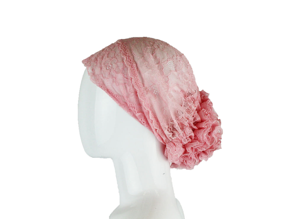 Lace Under Scarf Bonnet Cap - Pink