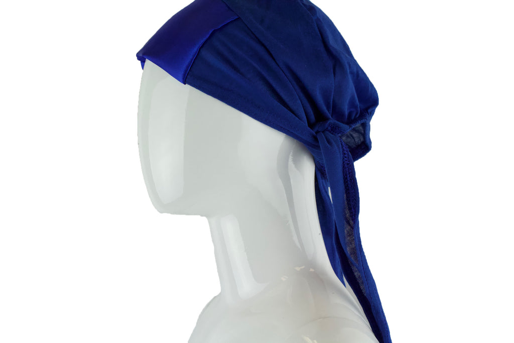Satin Trim Tie Back Under Cap - Royal Blue