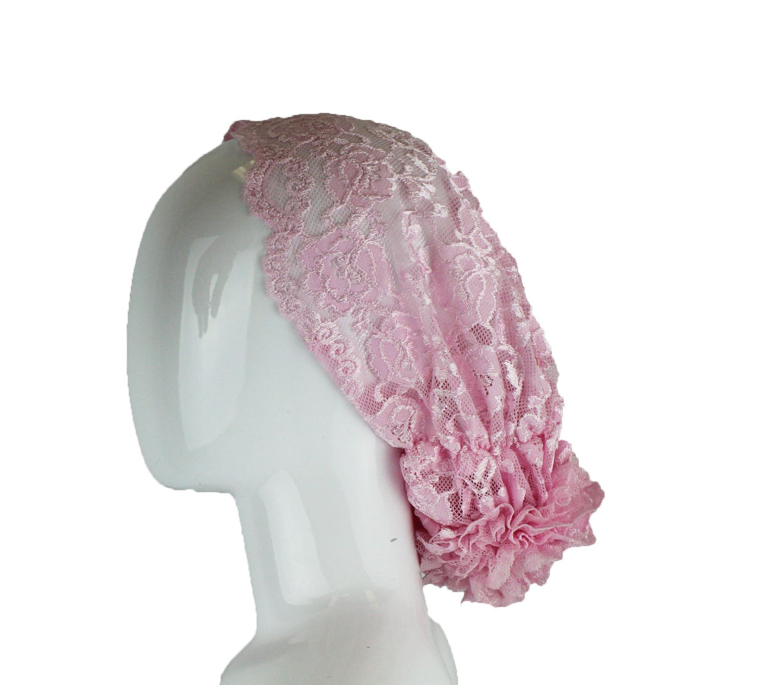 pink lace undercap for hijab