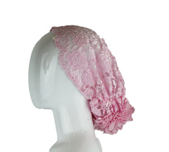 Lace Under Scarf Bonnet Cap - Baby Pink