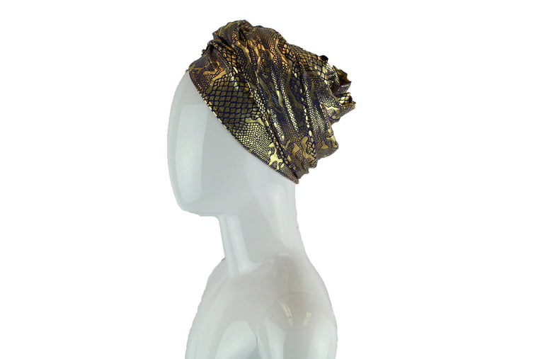 Gold Metallic Turban Wrap - Royal Blue