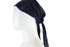 Satin Trim Tie Back Under Cap - Navy