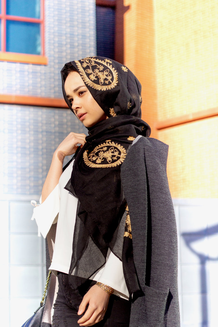 Gold Embroidered Hijab - Black