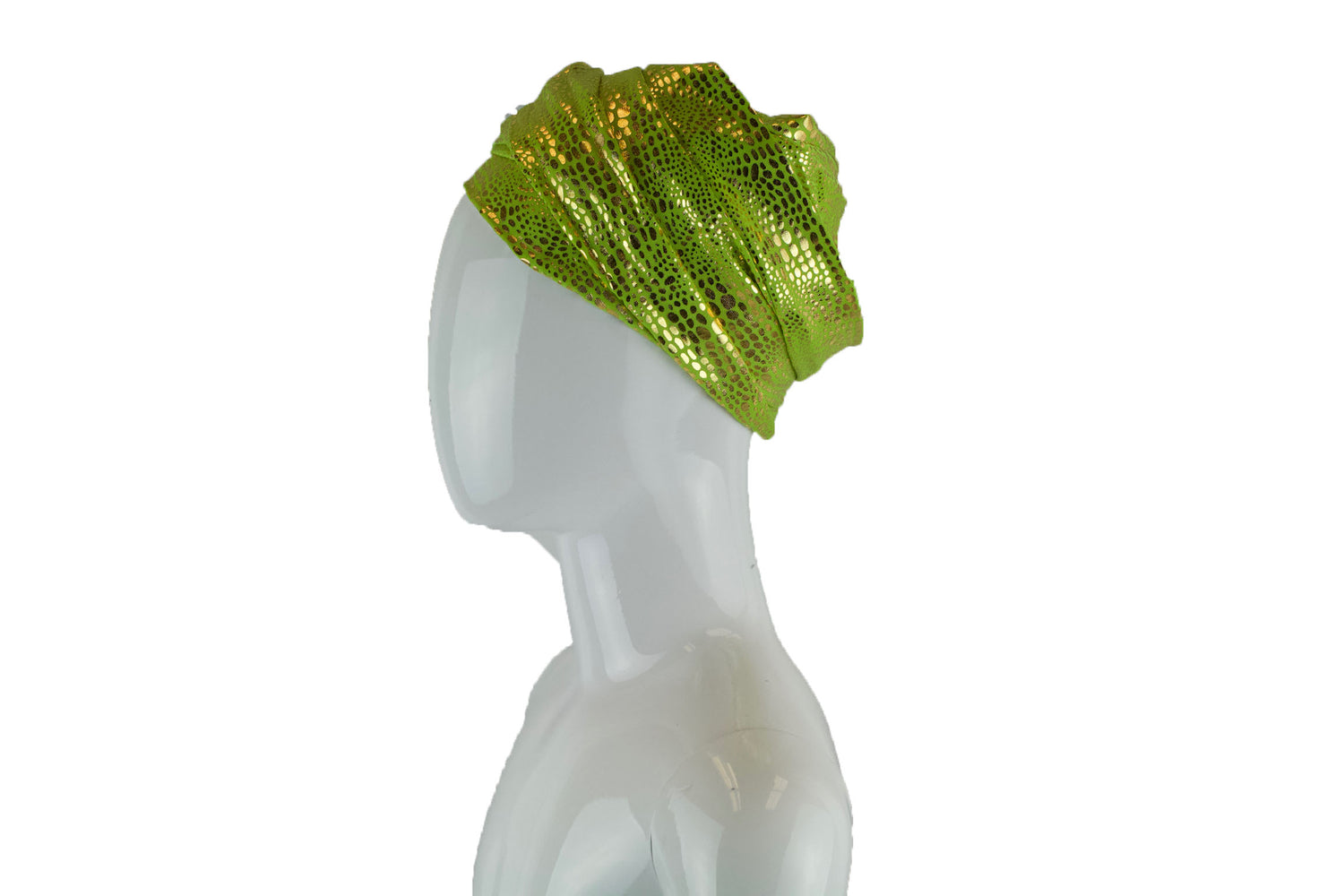 turban wrap in lime and metallic gold