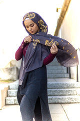 dark gray viscose hijab with gold embroidery from bella hijabs