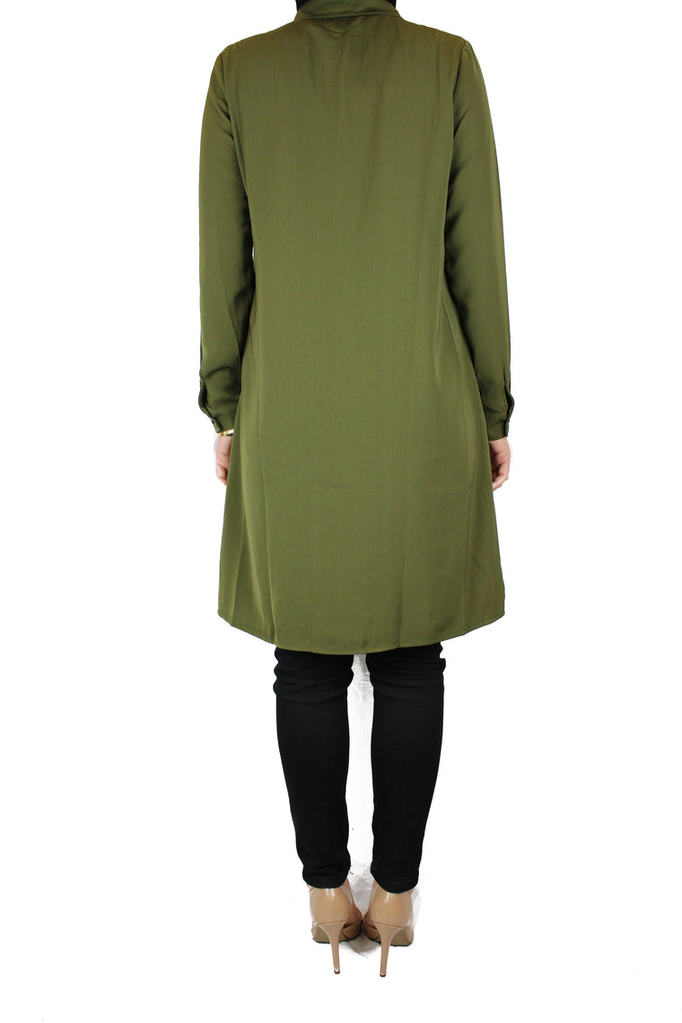 olive modest long sleeved dress shirt with pockets and a collar