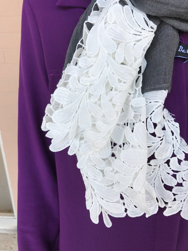 White Embroidery Lace Hijab - Dark Gray