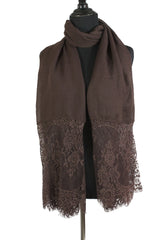 Premium Lace Hijab - Brown
