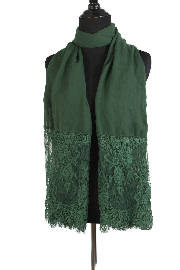 Premium Lace Hijab - Forest Green