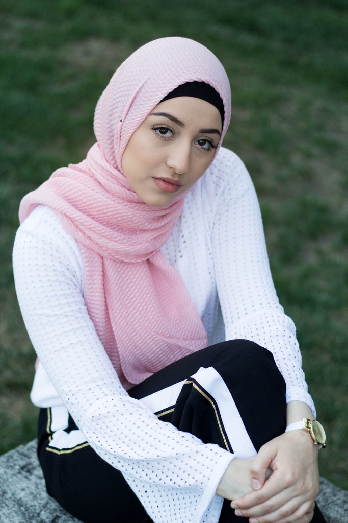 light pink hijab with pleats