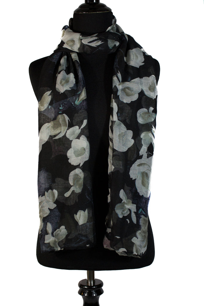 black floral hijab with white flowers