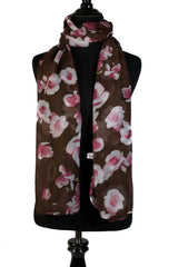brown floral hijab with white and pink flowers