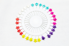 long hijab pins with stars and multiple colors