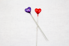 long hijab pins with hearts and multiple colors