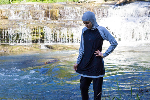 modest burkini swimsuit with hijab attached in black and gray